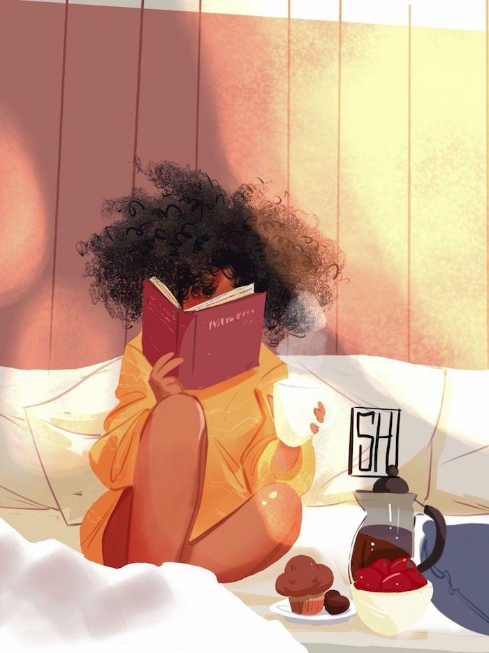 Was machen bei Langeweile, Buch lesen, Tasse Kaffee und Cupcakes im Bett