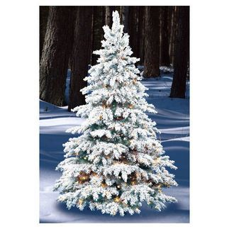8 ft. Artificial Christmas Tree - Pre-Lit Flocked Silver Tip - Classic PVC Tips - Barcana