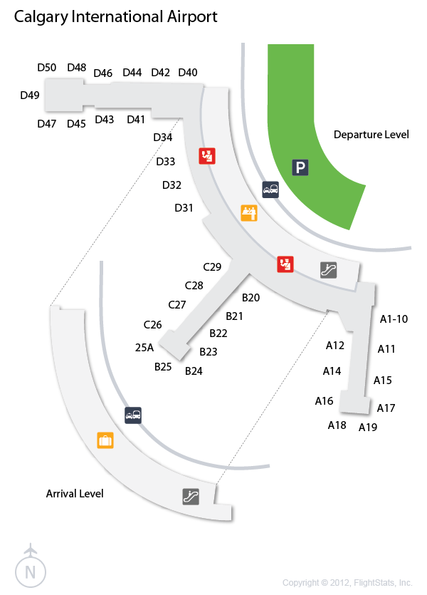 calgary international airport arrivals map Yyc Calgary International Airport Terminal Map Calgary calgary international airport arrivals map