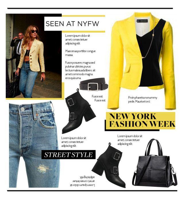 """NYFW - Street Style.."" by vkevans ❤ liked on Polyvore featuring Levi's, ADAM, rag & bone, Freida Rothman, StreetStyle, NYFW and vkevans"