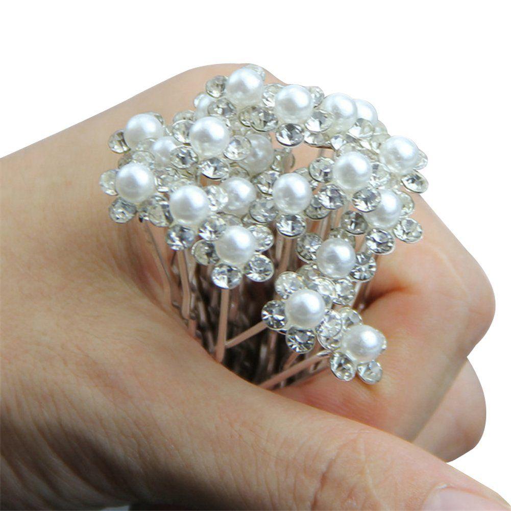 20pcs bridal hair pins pearl flower crystal wedding hair