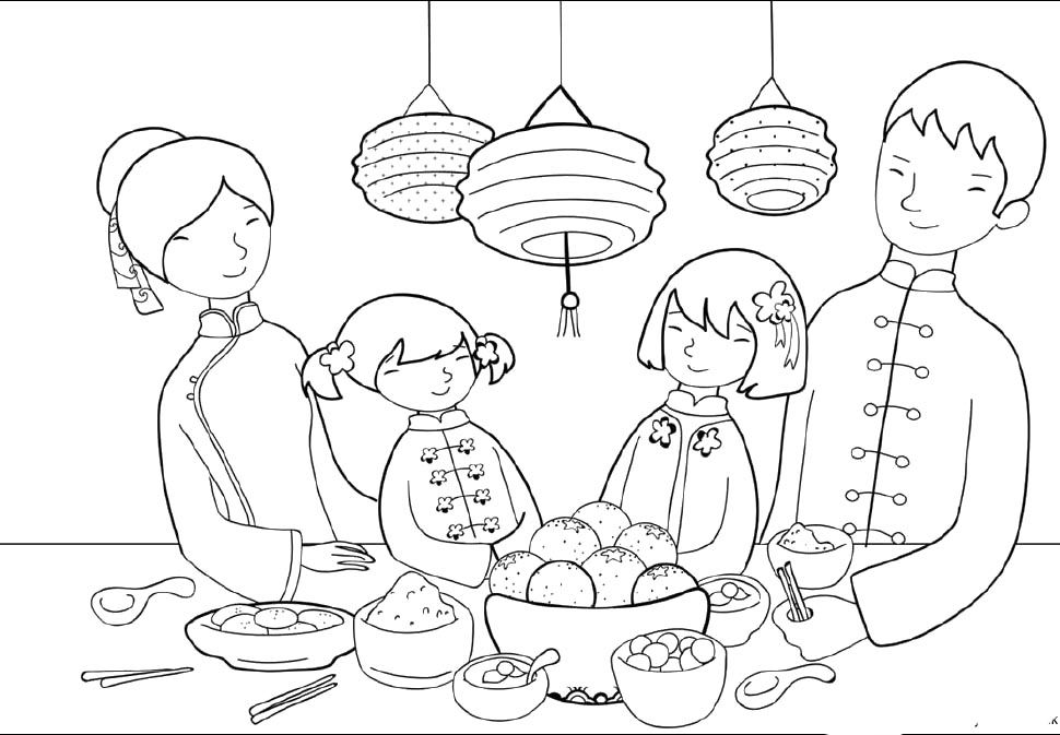 Food Party On Chinese New Year Day Coloring Pages - Holidays ...