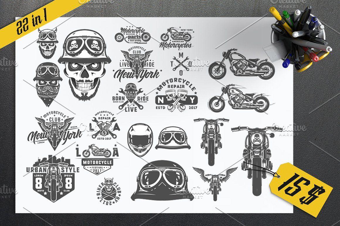 22 In 1 Set Of Biker For Emblems Emblems Font Packs Emblem Logo Motorcycle club patch template photoshop