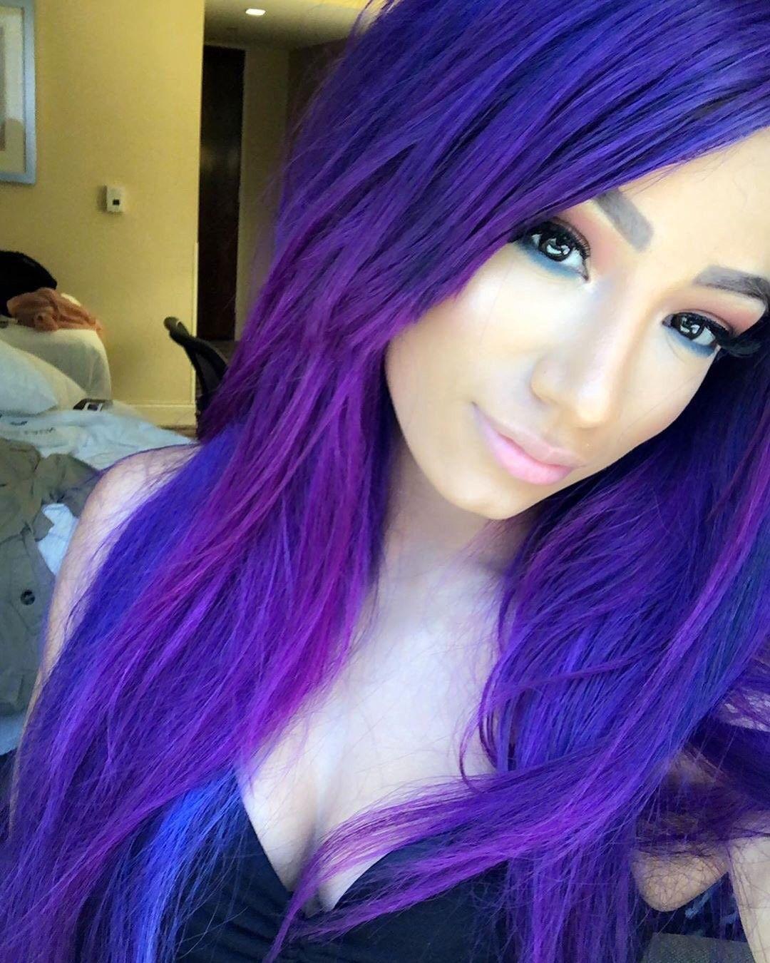 Sasha Banks Girl With Purple Hair Fox Hair Dye Hair Color Purple