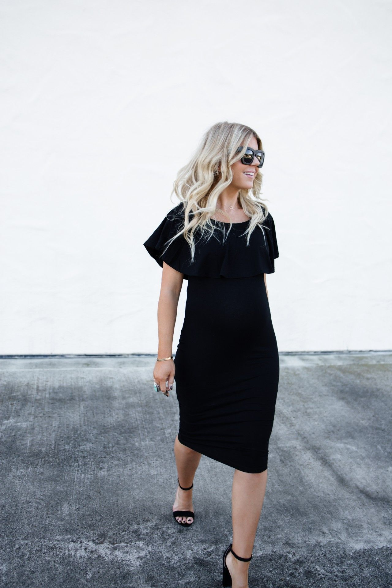 Love this knee length black maternity dress with my all time favorite Valley Eyewear sunglasses and some classic black heels.