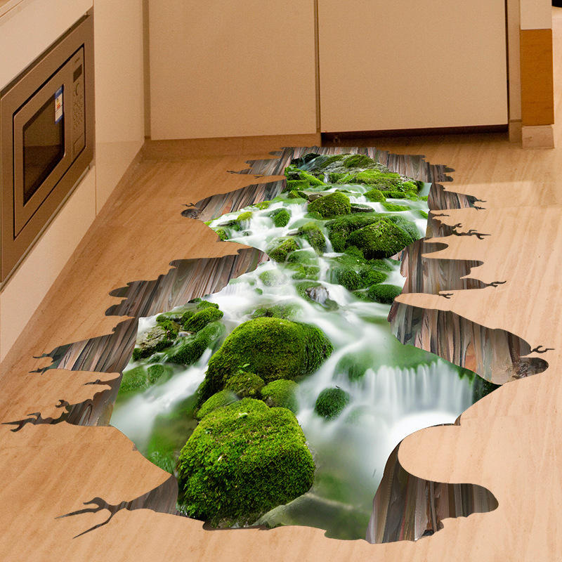 3d Stream Floor Decor Wall Sticker Removable Mural Decals Vinyl