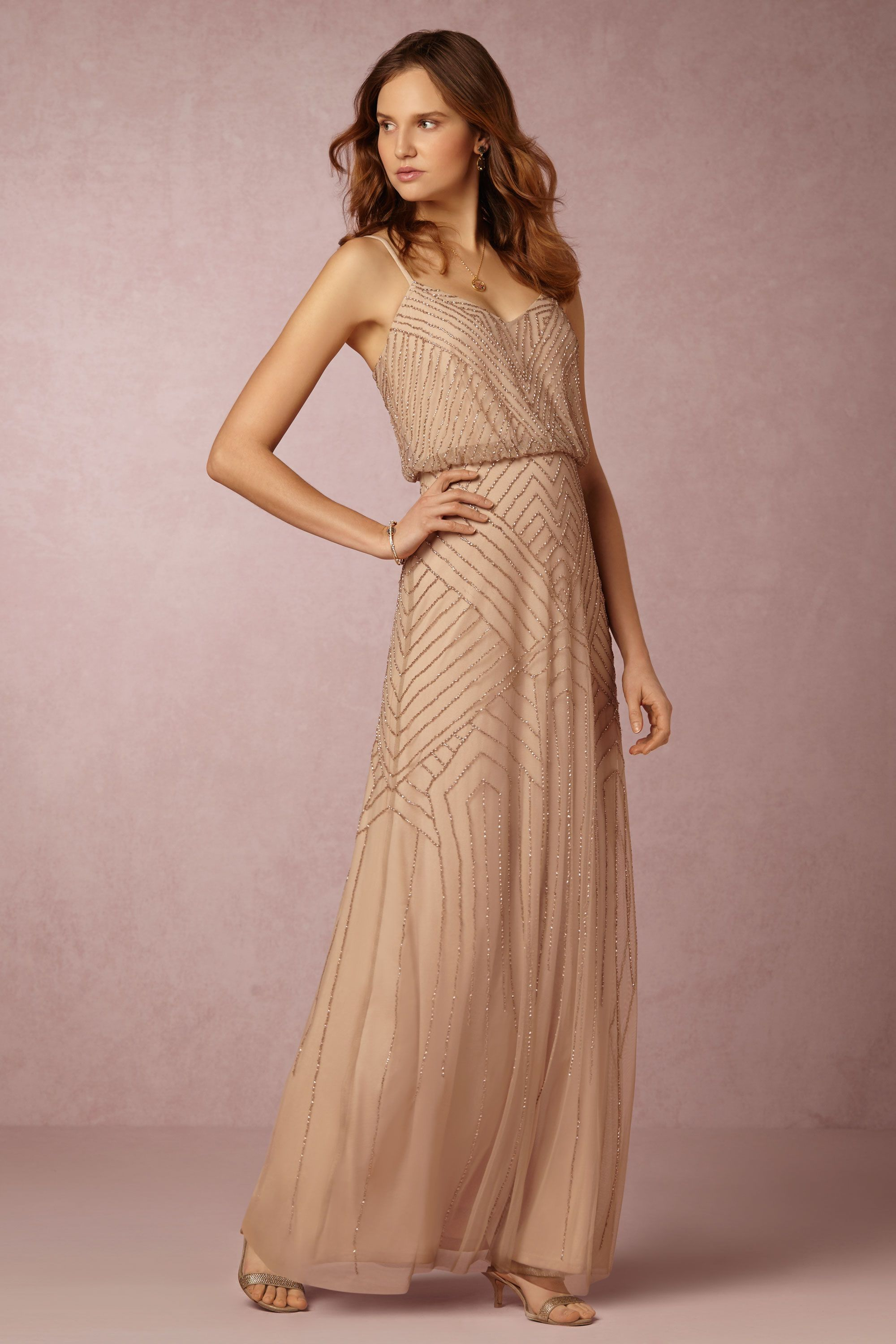 Bhldn 39 s adrianna papell sophia dress in rose gold sophia for Anthropologie beholden wedding dress