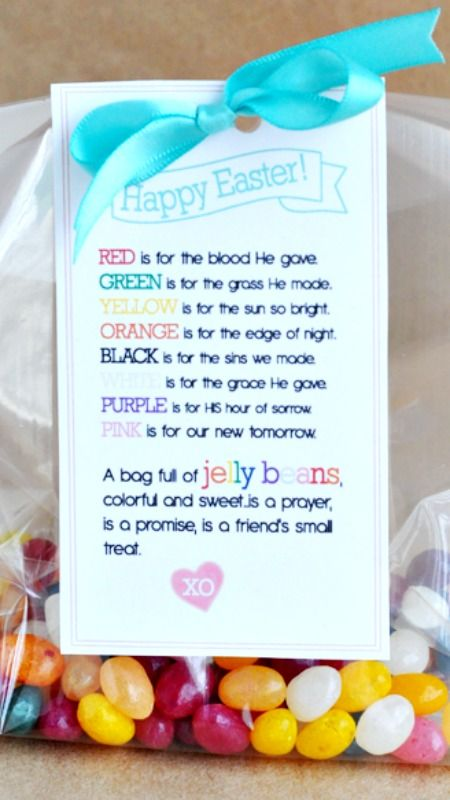 Easter treat printable pinterest jelly beans poem and easter easter treat jelly bean poem printable negle Images