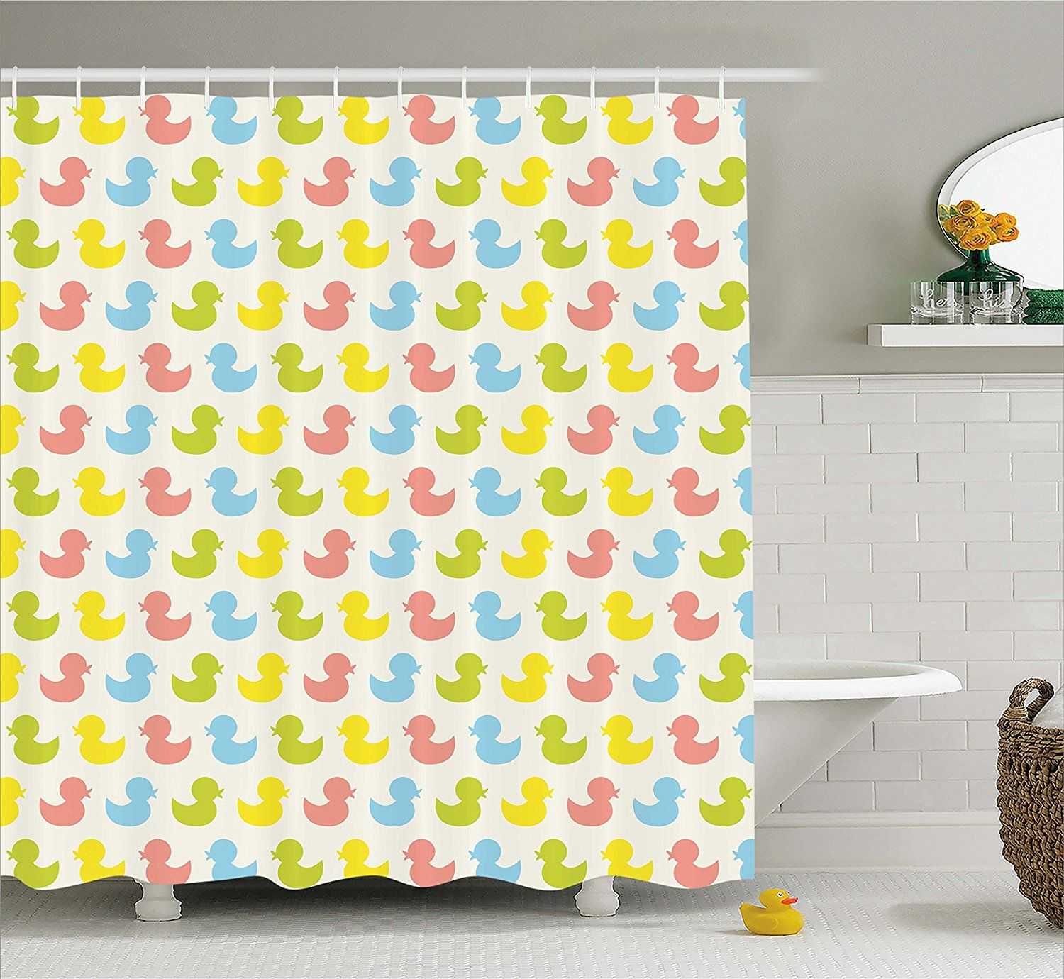 Amazon Rubber Duck Shower Curtain Set By Ambesonne Colorful Ducklings Baby Animals Theme Pastel Girls Boys Newborn Pattern Fabric Bathroom Decor With