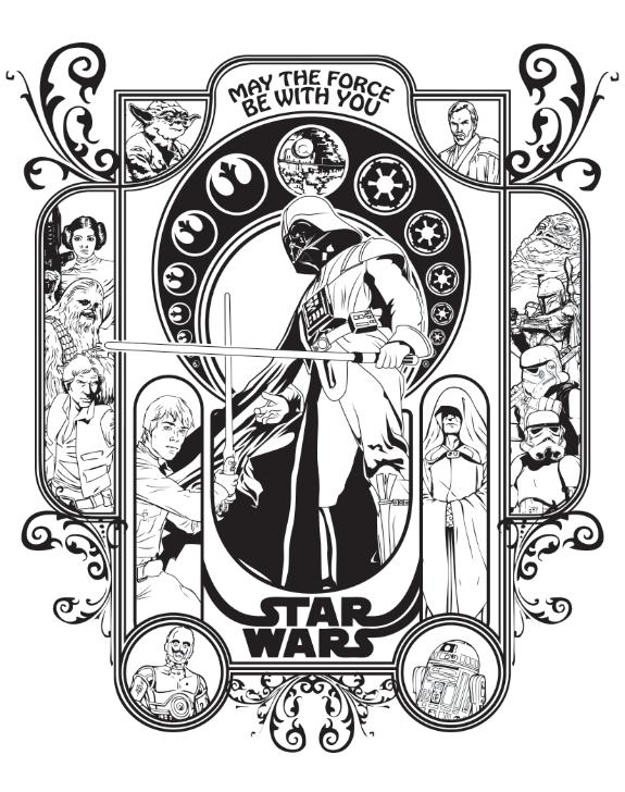 Star Wars Art Nouveau On Behance Star Wars Stencil Star Wars Art Star Wars Painting