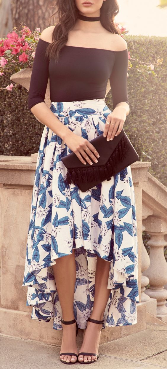 a24b3d650c9 Tropical Getaway Blue and Ivory Floral Print High-Low Skirt in 2019 ...