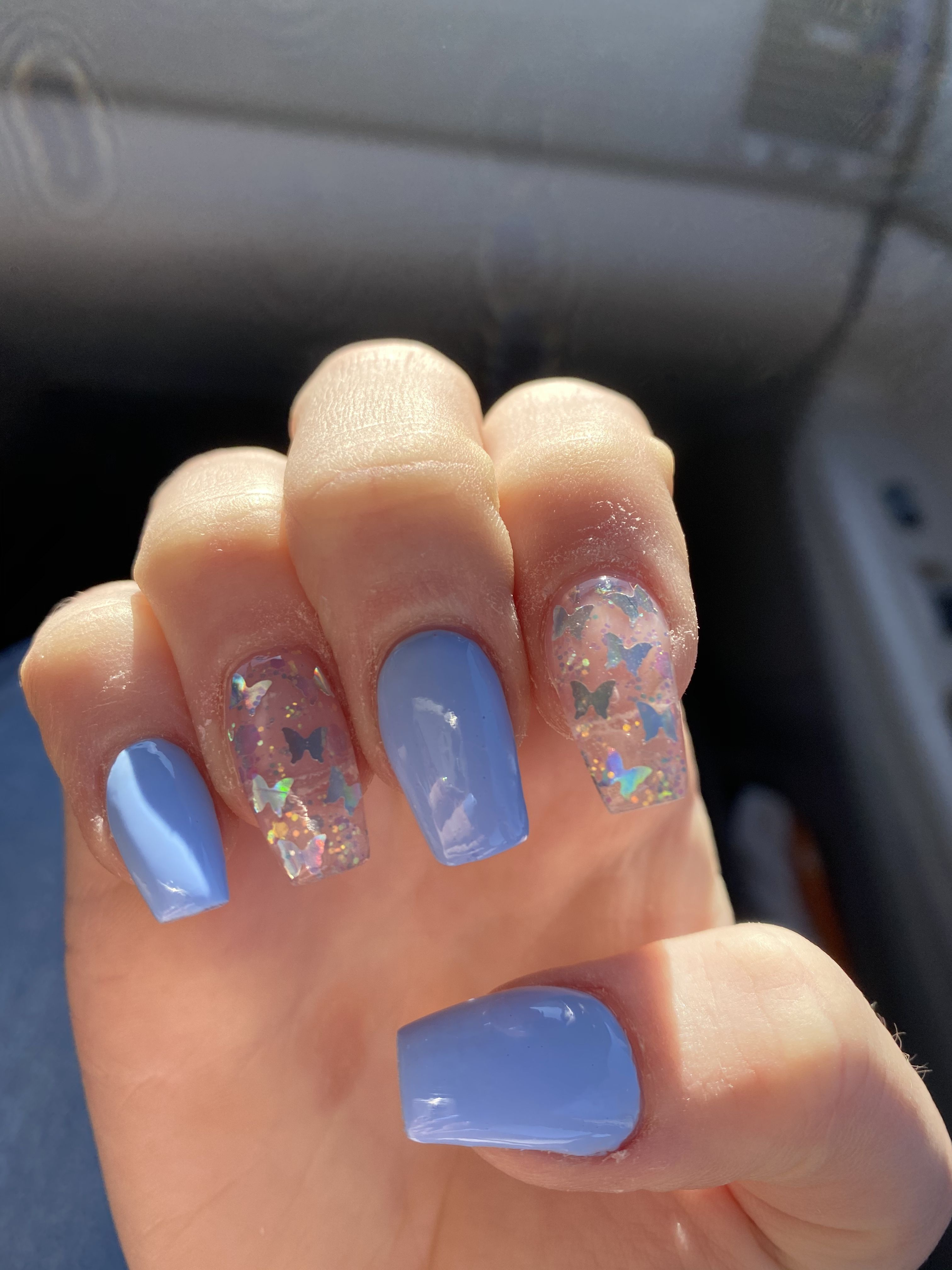 Blue Butterfly Nails In 2020 Blue Glitter Nails Pink Acrylic Nails Short Acrylic Nails Designs