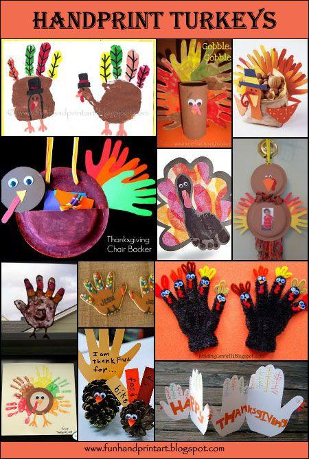 Handprint Turkey Thanksgiving Crafts For Kids