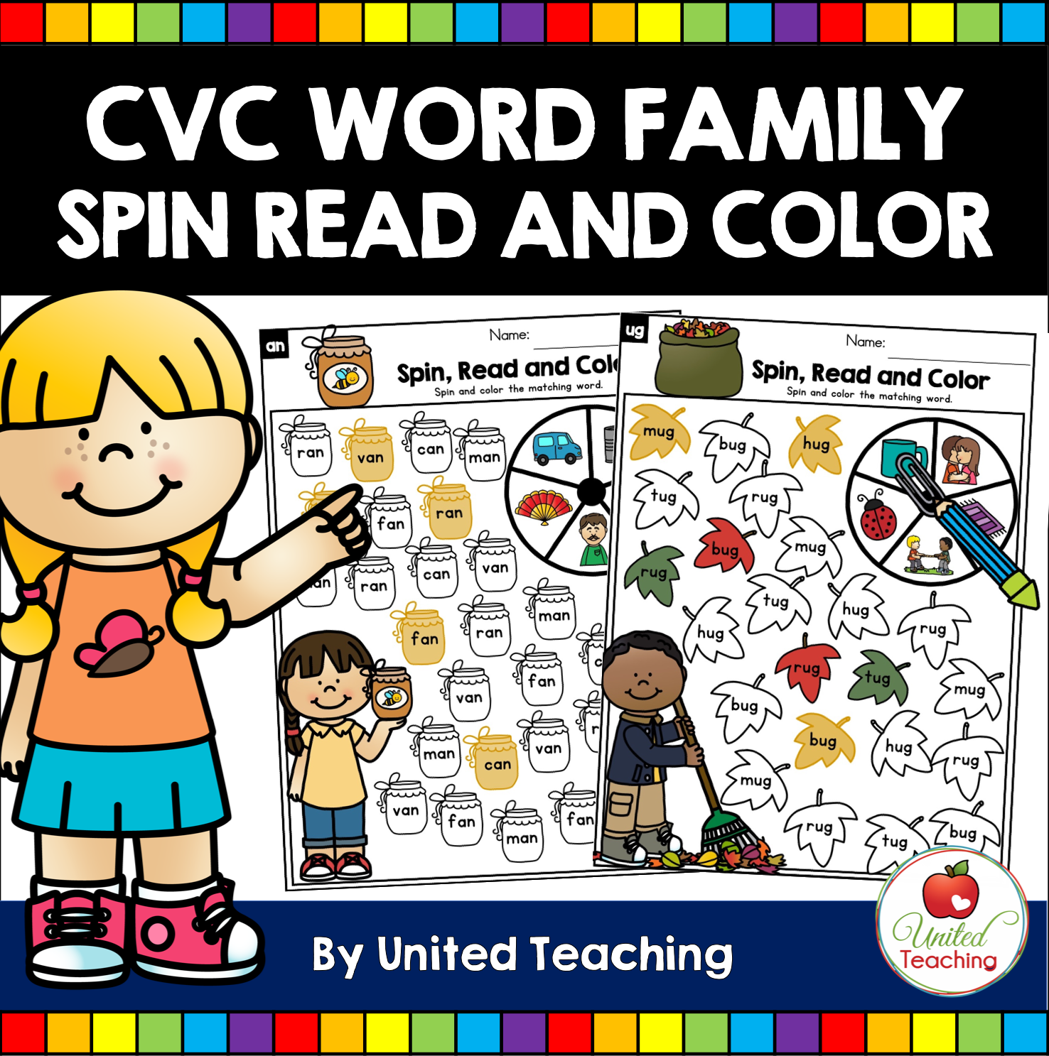 Cvc Words Spin And Color Worksheets In