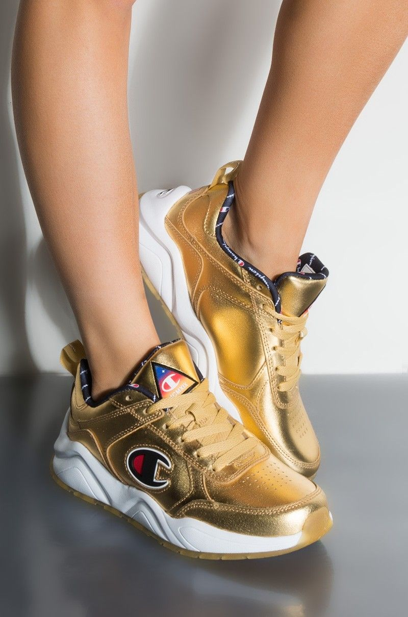 667996cef1f Front View Champion 93 Eighteen Nasa Sneaker In Gold in Gold ...