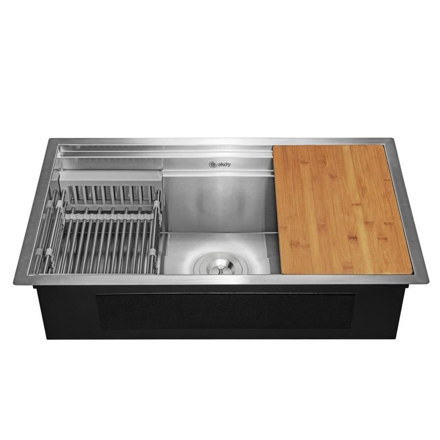 Akdy Handmade Undermount 30 In X 18 In Stainless Steel Single Bowl Workstation Kitchen Sink All In One Kit With Drainboard Lowes Com Undermount Kitchen Sinks Single Bowl Kitchen Sink Stainless Steel Kitchen Sink