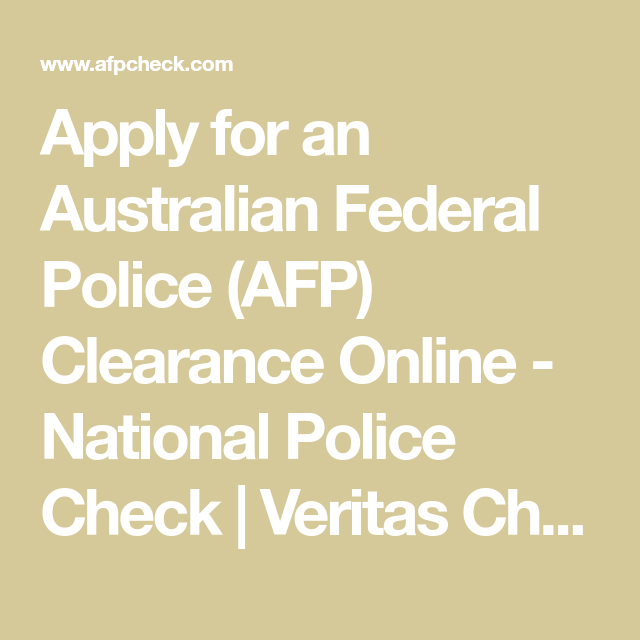 Apply for an Australian Federal Police (AFP) Clearance