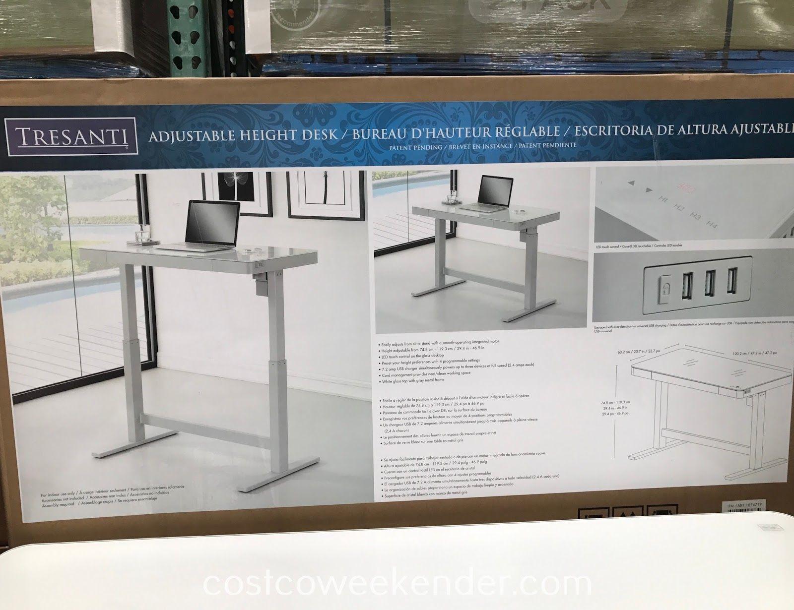 Costco 1074719 Tresanti Nouveau Adjustable Height Desk