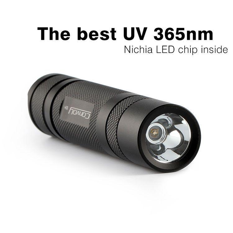 Convoy S2 + Black UV 365nm Led Flashlight with Fluorescent Agent Detection