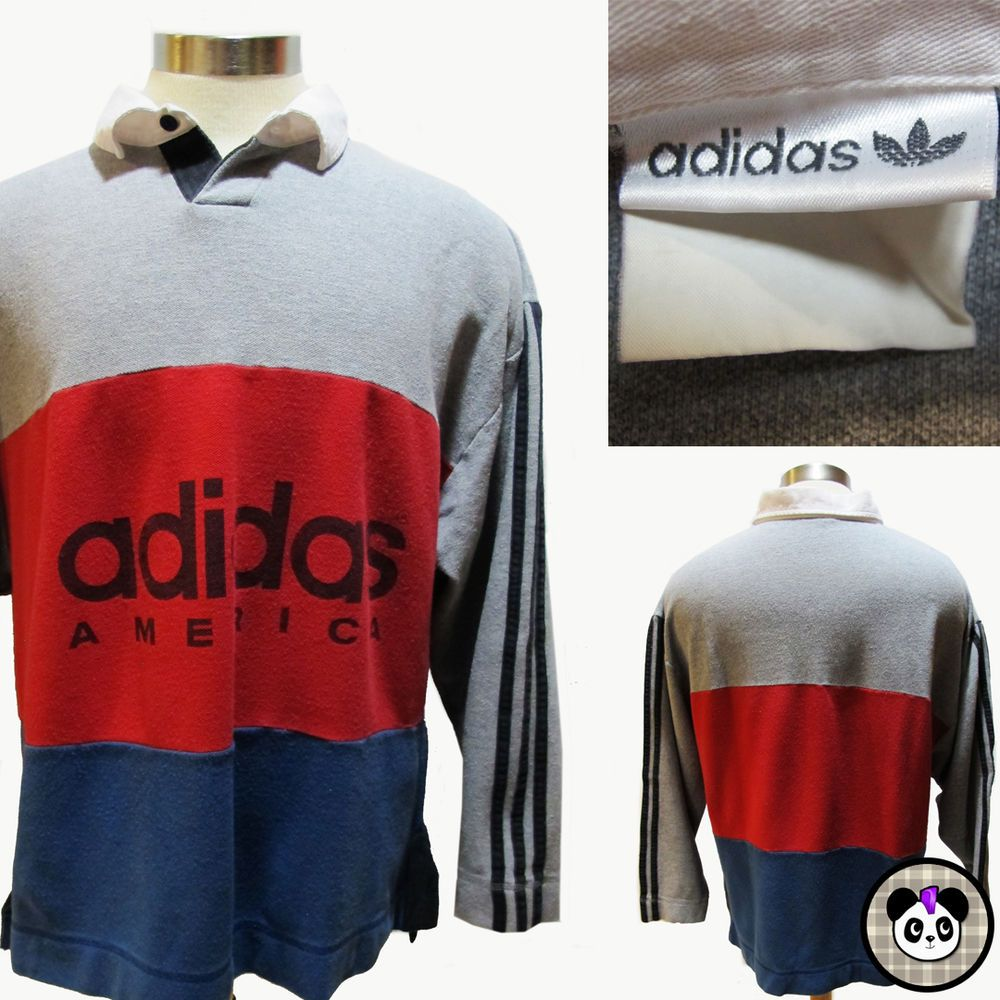 242a088f Vtg 90s Adidas America Spell Out Trefoil Color Block Polo Long Slv Shirt Sz  L/XL #adidas #Polo #90s #colorblock #streetwear #urban #hiphop