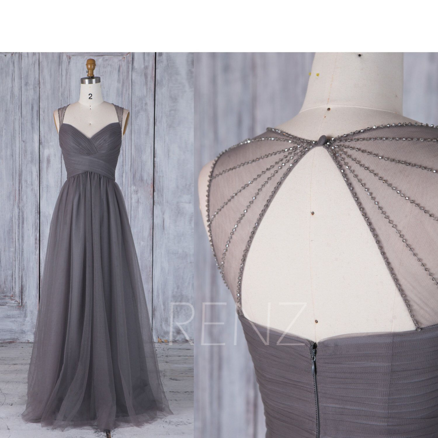 Charcoal Gray Bridesmaid Dress, Ruched Sweetheart Wedding Dress ...