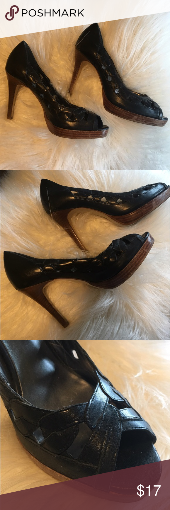 Black Guess pumps Great used condition. Some scuffs, but these pumps have a lot of life left in them! Guess by Marciano Shoes Heels
