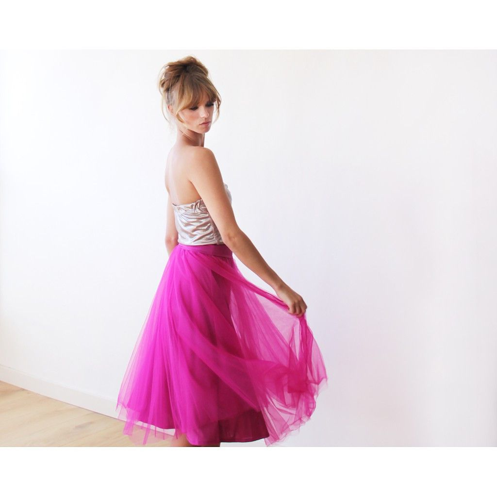 Fuchsia Pink Skirt , Tulle Midi Skirt , Pink Tulle Skirt, Bridesmaids Pink Skirts - Blushfashion. Bright Pink skirt for a Princess. Standout at your next formal or prom. This wedding bridesmaid dress is perfect for a summer or fall wedding event. Beautiful Blushfashion dress by an Israeli designer.  Custom Orders for Bridesmaids or large groups available. Simply inquire at www.styleandpose.com