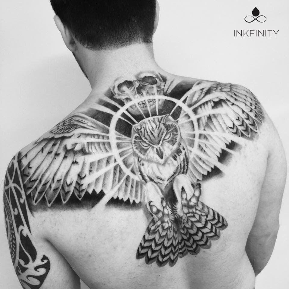 Skull Back Piece: Owl & Skull Back Piece Tattoo @INKFINITY #inkfinity