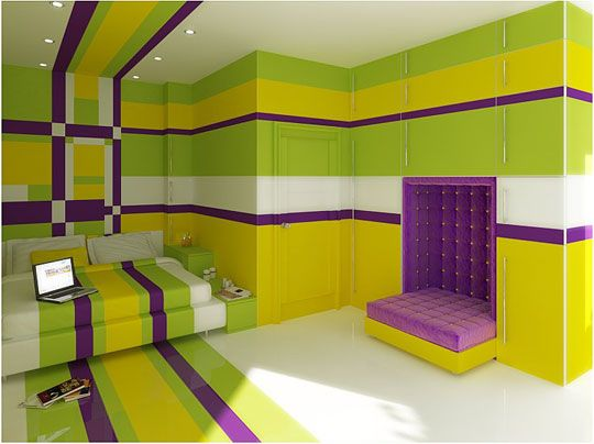 The Kings Cake Bedroom Purple Green Yellow Wall colour