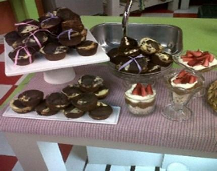Muffins de chocolate y cheesecake