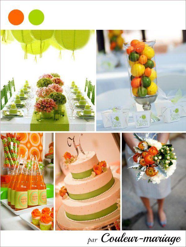 Mariage en vert et orange - Couleur mariage | Idée couleur ...