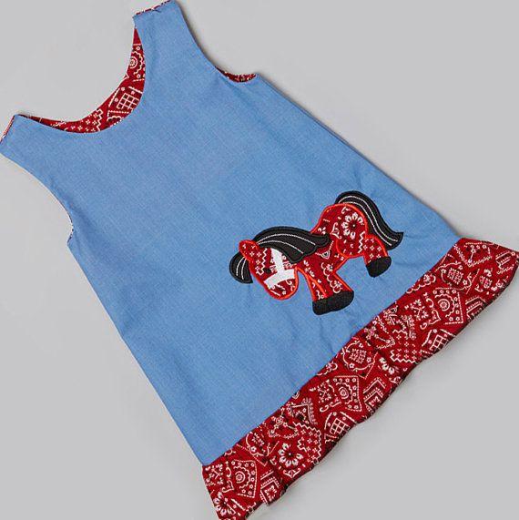 Custom Boutique rizó Hem Applique Pretty Pony Azul y Bandana Imprimir Jumper Vestido, infantil, bebé, niño y niña Tallas.  Envío libre US