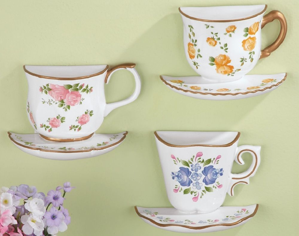 Vintage Floral Teacup Wall Art Decorations Hanging Cup Plate Set of ...