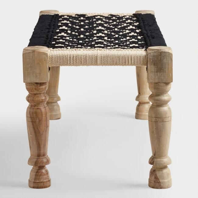Tremendous Black And White Wood And Fabric Bench V3 Apartment In Machost Co Dining Chair Design Ideas Machostcouk