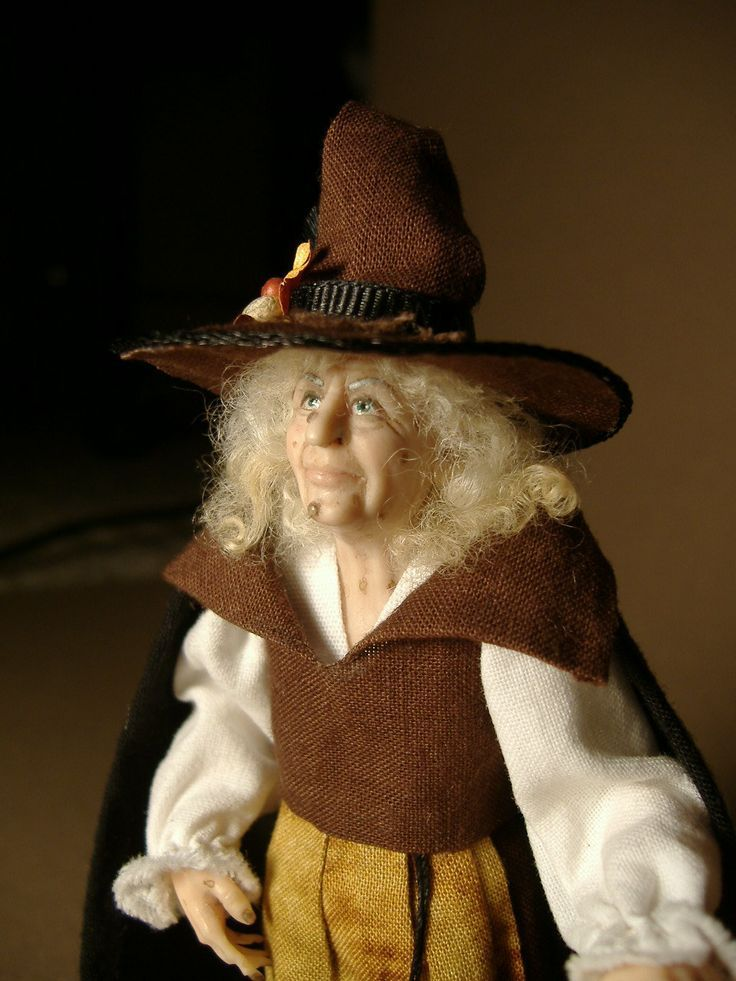 Karin Smead dolls | Little Brown Witch. 1:12 scale doll made by Karin Smead.