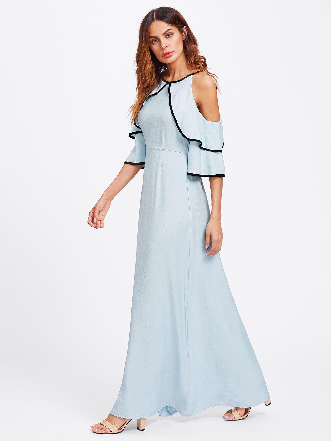 2f9dd9f7ca5c Shop Flounce Open Shoulder Bell Sleeve Contrast Binding Dress online. SheIn  offers Flounce Open Shoulder Bell Sleeve Contrast Binding Dress & more to  fit ...