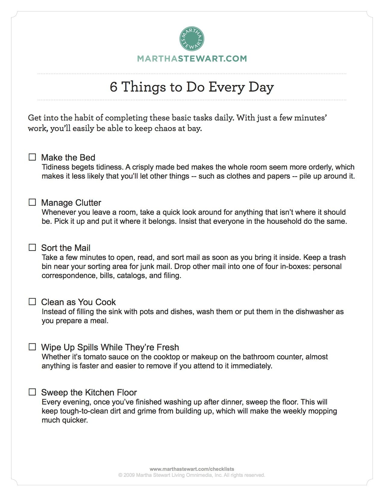 Martha Stewart cleaning and organizing checklists. Daily, Weekly, Monthly  and Seasonal things to - The Golden Rules Of Cleaning: What You Should Be Cleaning When