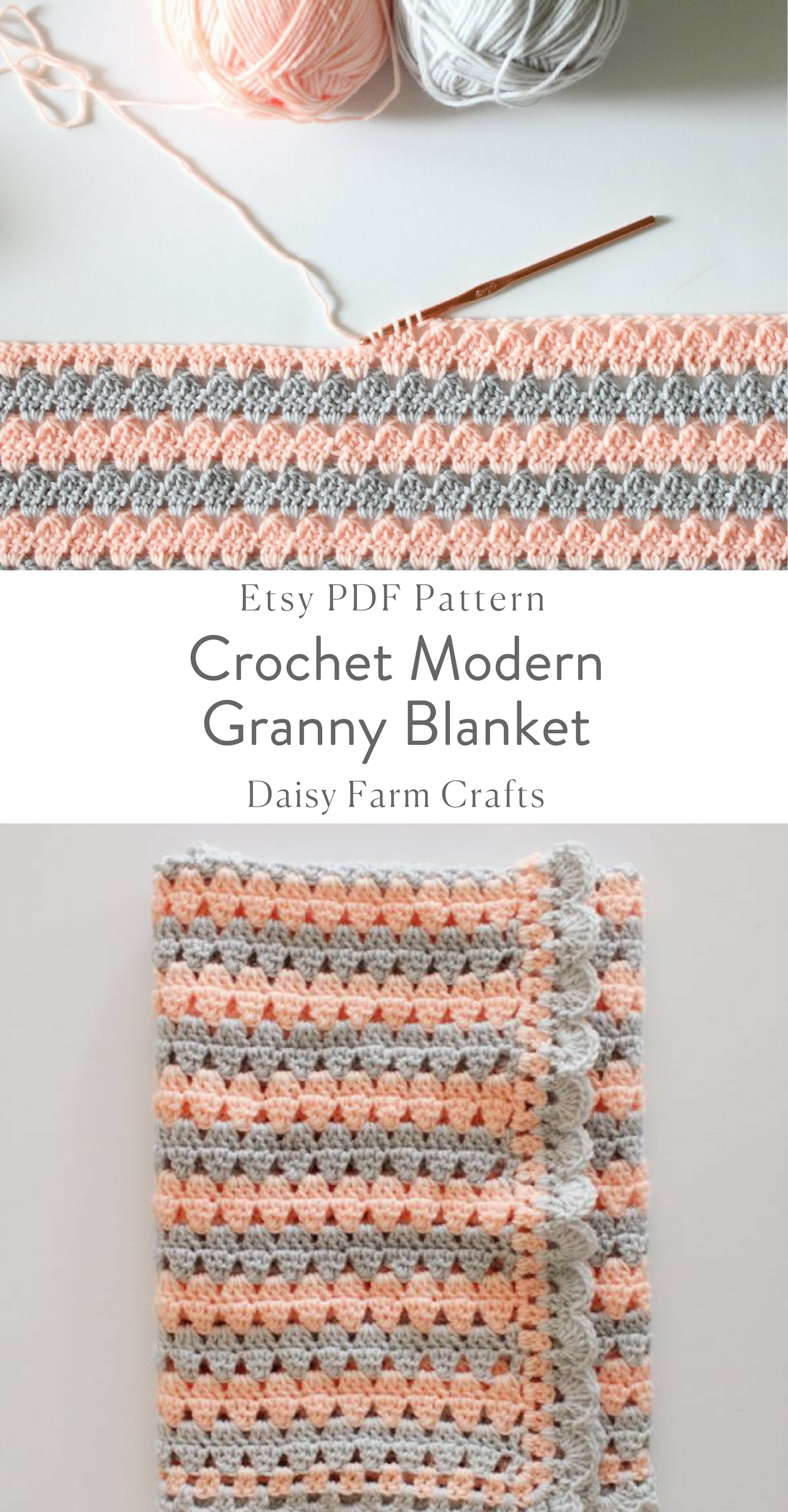 Crochet Modern Granny Blanket in Peach and Grey Pattern | naomi ...