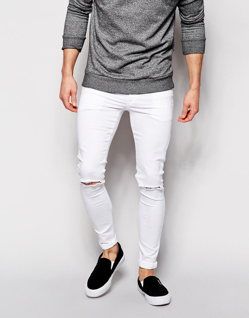 Super Skinny In White With Knee Rips - White Asos Online Cheap Price 4sQld7yyd1