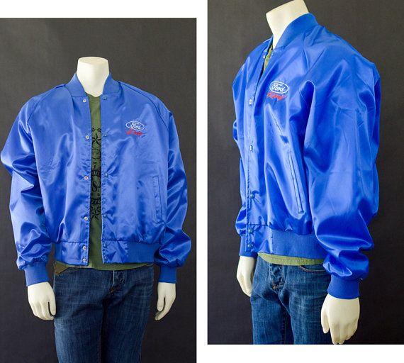 245a9e6d12b47 Vintage 80s Blue Bomber Jacket