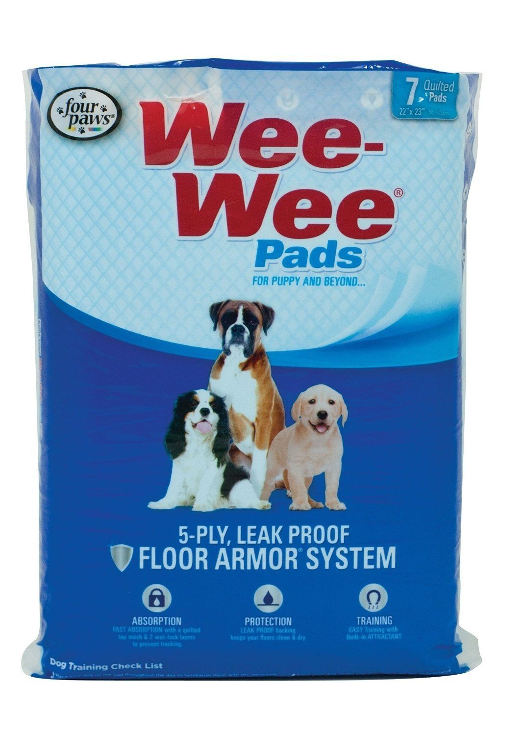 7 Pack 5 Ply Leak Proof Floor Armor System Pads For Dog Click