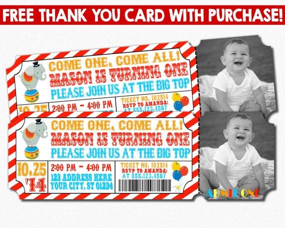 Circus Birthday Invitation Circus Ticket by PuggyPrints on Etsy - best of invitation for 1st birthday party free