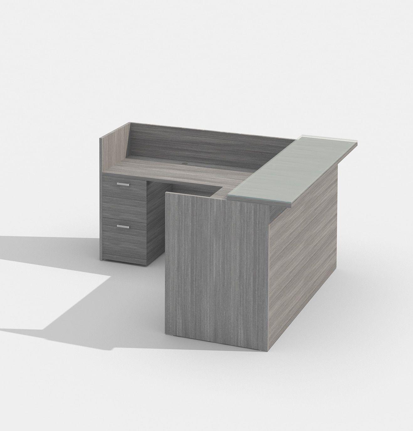 Cherryman Amber Series Am 400n Reception Desk With Glass Transaction Top Small Reception Desk Reception Desk Reception Desk Design