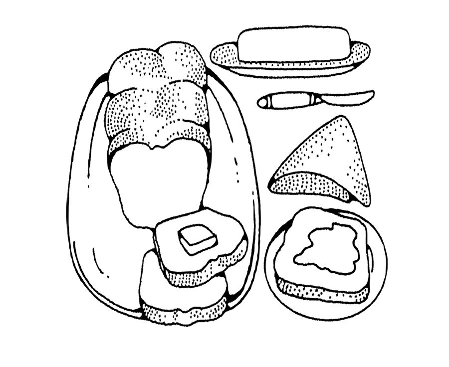 Bread And Butter Black White Coloring Pages For Kids Food