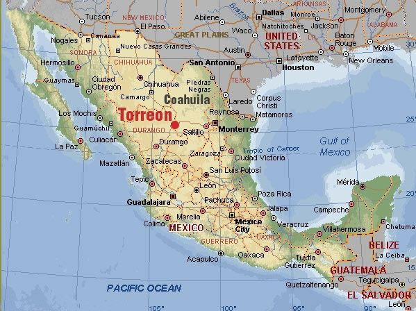Map Of Mexico Torreon Coahuila Highlighted Childhood Memories And