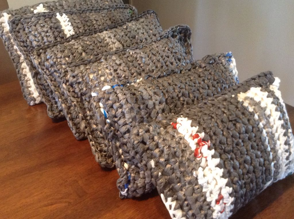 Pillows Made From Plarn And Filled With Polyethylene Sheeting These Are An Easy Diy Crochet Project To He Plastic Bag Crochet Crochet Mat Plastic Bag Crafts