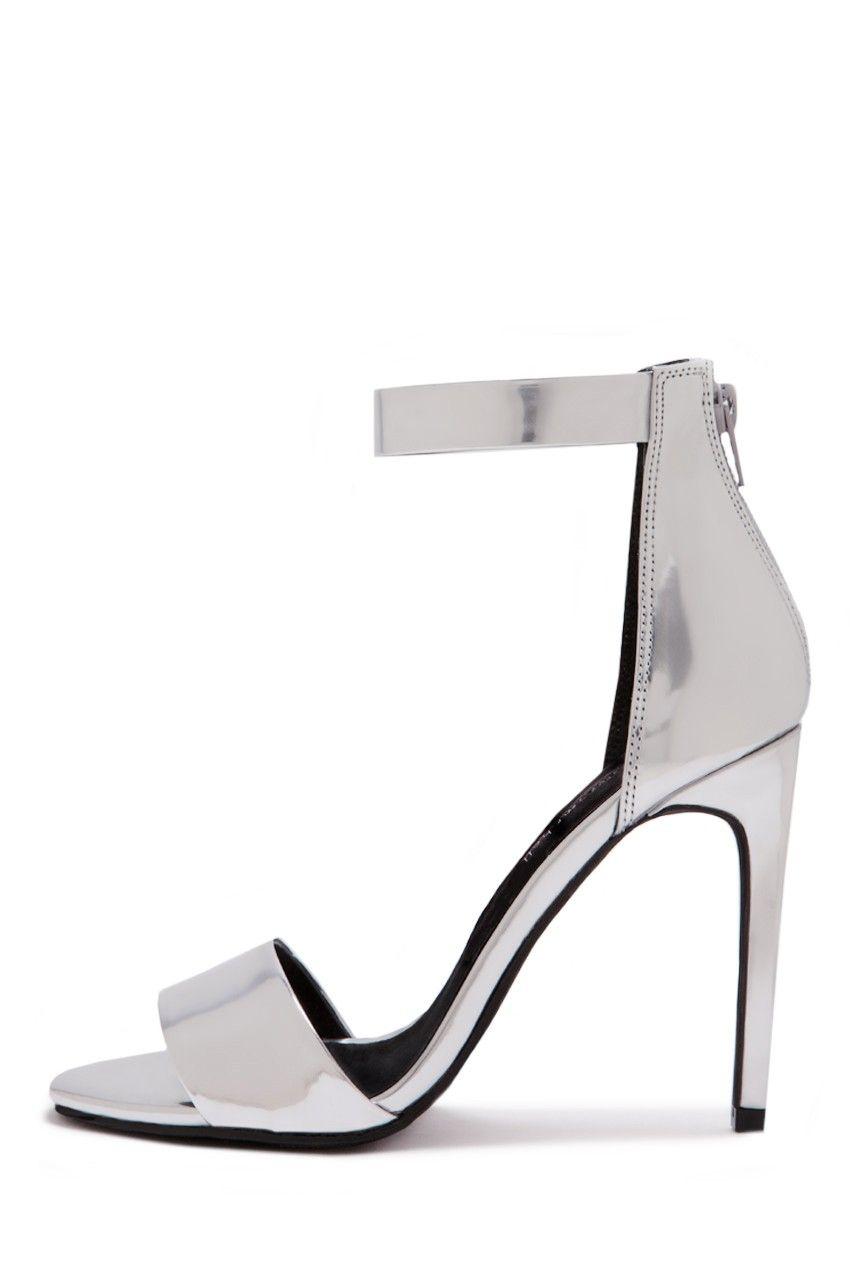 Jeffrey Campbell Shoes MERYL Heels in Silver Mirror
