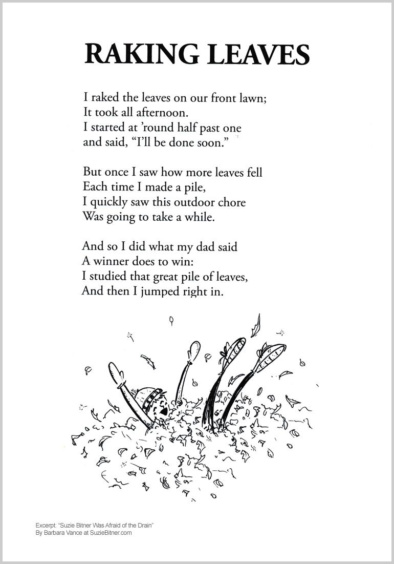 cute Fall Children\'s poem about raking leaves in Autumn. Great for ...