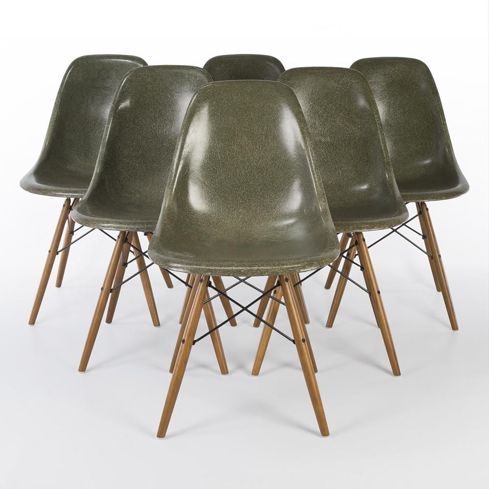 Vintage Olive Green Herman Miller Eames Fiberglass Side Chair Dsw Base Eames Chairs Authentic Original Vintage Furniture Vintage Eames Eames Dsw Chair
