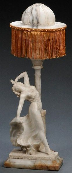 """lighting, France, Figural alabaster table lamp, Paris, early 20th century, carved as a dramatic woman in a flowing dress beneath a domed and tasseled shade, the reverse incised """"Lenell, Paris"""" on a onyx base. Circa 1901-1920"""